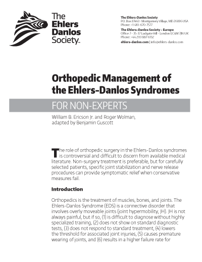 Orthopedic Management of the Ehlers-Danlos Syndromes (for