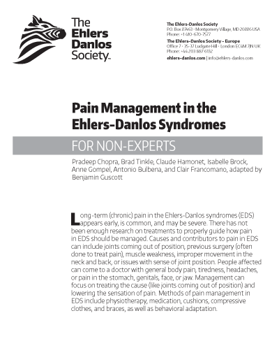 Pain Management in the Ehlers-Danlos Syndromes (for Non