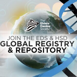 A globe image is shown with a background of a DNA strand. To the left, a person on a cell phone. To the right, a person joining online via a laptop. Text reads: Join the EDS & HSD Global Registry and Repository.