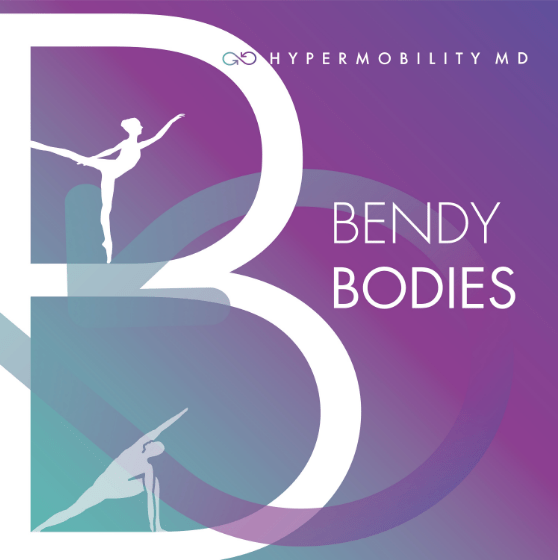 a large white B to the left on a purple background with the title 'Bendy Bodies' on the right