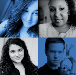 a grid of four people's portraits with blue and black and white filters overlaid