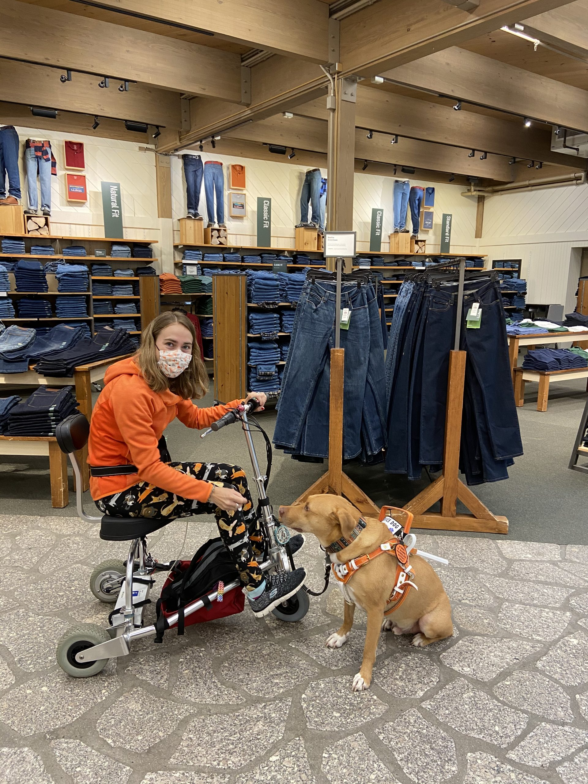 Me on my scooter with my service dog in his orange harness inside LL Bean's Store
