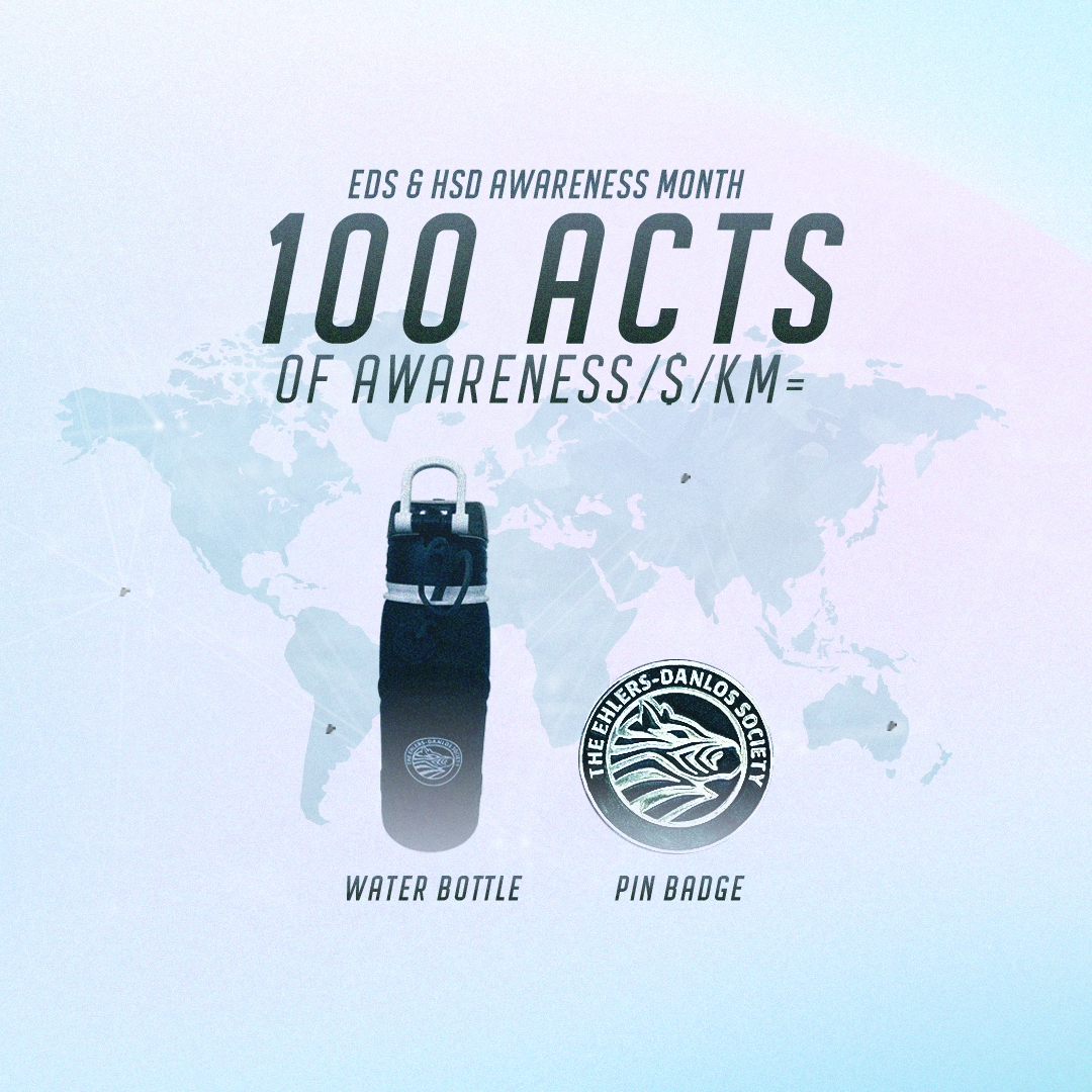 100 acts of awareness / $ / KM = Water bottle + pin badge