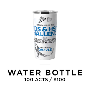 EDS Society waterbottle for 100 acts of awareness