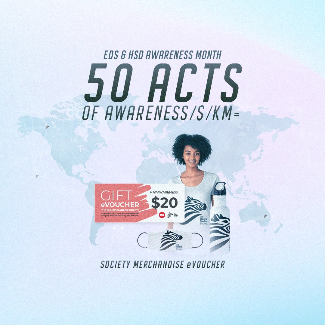 50 acts of awareness / $ / KM = $20 evoucher for Society Merchandise eVoucher (image of the t-shirt design for May)